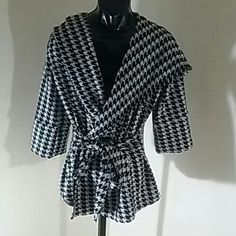 "XTAREN BLACK&WHITE TIE FRONT JACKET SZ LARGE Very nice jacket.  length 30"""" sleeves 19""""will fit xlarge 95% polyester 5%spandex Jackets & Coats"