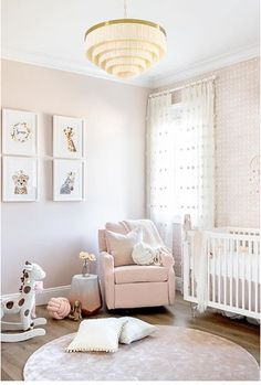 Sweet dreams for this lucky baby girl. Nursery design by Custom color pink created to match the adjacent wallpaper. Baby Girl Room Decor, Baby Room Design, Nursery Design, Nursery Paint Colors, Bedroom Wall Colors, Girl Bedroom Walls, Nursery Room, Nursery Ideas, Nursery Decor