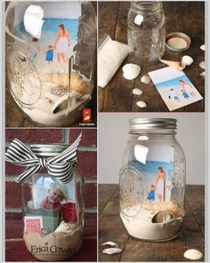 Craft These Beachy Memory Jar Picture Frames Cadre Photo Diy, Diy Photo, Cool Picture Frames, Cuadros Diy, Decoration Photo, Camping Gifts, Game Pieces, Diy Candles, Diy Frame