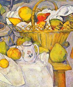 Still life with fruit basket (the kitchen table 1880-1890 Paris, Musée d'Orsay); detail. Paul Cézanne.