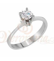 Μονόπετρo δαχτυλίδι Κ18 λευκόχρυσο με διαμάντι κοπής brilliant - MBR_058