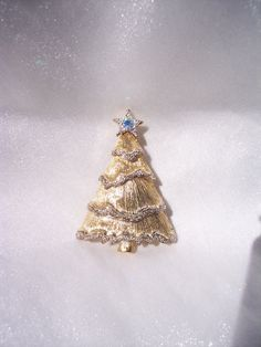 Vintage Liz Claiborne Brooch Rhinestone High Fashion Christmas Tree Holiday AB Star Textured Vintage High End Jewelry Glam Pin FREE SHIPPING by JEWELSELAGANT on Etsy