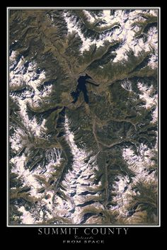 Summit County and Breckenridge Colorado From Space Satellite Art Poster