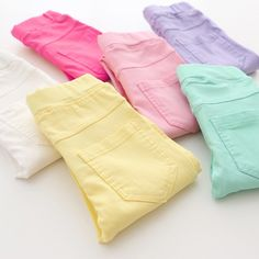 girls jeans on sale at reasonable prices, buy WEONEWORLD 2018 Summer Elestic Waist Children Kids Pants Baby Girl Jeans Candy Color Solid Causal Jeans For Girls Leggings from mobile site on Aliexpress Now! Baby Girl Jeans, Baby Girl Leggings, Girls Jeans, Ladies Jeans, Fashion Kids, Ropa Color Pastel, Color Caramelo, Baby Shop Online, Cotton Leggings