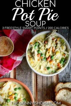 you're eating healthy, but craving that classic taste of Chicken Pot Pie, try my lightened up Chicken Pot Pie Soup recipe! It's easy and quick and it gives you that creamy and cozy soup that you just have to have on cool days! Chicken Pot Pie Soup Recipe, Healthy Chicken Pot Pie, Chicken Potpie, Chicken Curry, Chicken Recipes, Weight Watchers Chicken Stew Recipe, Chicken Cordon, Cheesy Chicken, Grilled Chicken