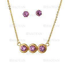 collar y aretes con crsital de morado en acero para mujer-SSNEG323716