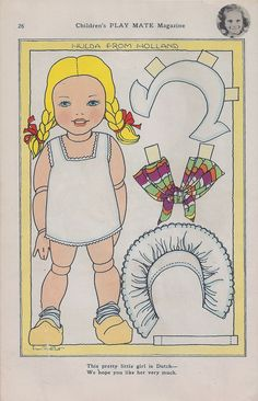 DUTCH GIRL Paper Doll from Children's Play Mate Magazine  Paper Dolls to download by Fern Bisel Peat 1 of 2