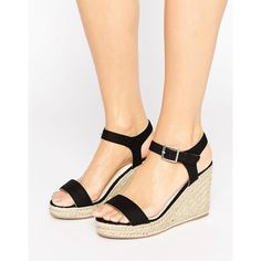 Pieces Halloumi Black Espadrille Wedge Sandals ($47) ❤ liked on Polyvore featuring shoes, sandals, black, woven wedge sandals, wedge heel sandals, black wedge espadrilles, wedge espadrilles and black wedge heel sandals