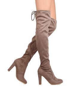 06d95a73f332 DbDk FD44 Women Faux Suede Thigh High Drawstring Chunky Heel Boot Taupe  Size  10