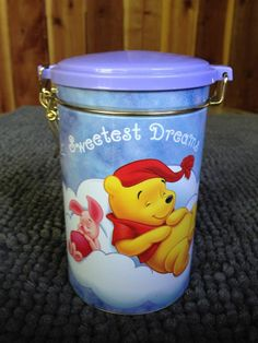 Winnie The Pooh Disney Tin Container Canister Piglet Sweetest Dreams Collectors