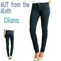KUT From the Kloth Diana Dark Wash Skinny Jeans 4 NWOT KUT from the Kloth 'Diana' dark wash mid-rise Skinny jeans size 4. 98% cotton / 2% spandex.  Flat lay measurements : 15' waist / 17 1/2 hip / 8 1/2' rise / 30' inseam 9' thigh width / 6' cuff opening.  Please let me know if you have any additional questions before purchasing. No lowballs! KUT Jeans Skinny