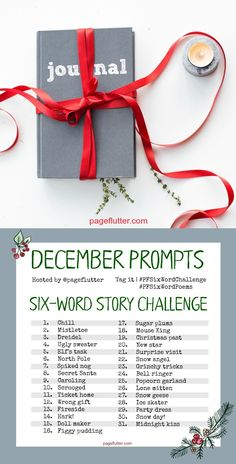 December Six-Word Story Challenge. Cozy winter and Christmas journal writing prompts. 6 Word Stories, Six Word Story, Daily Journal Prompts, Christmas Journal, Creating Positive Energy, Six Words, Life Lyrics, A Christmas Story, Christmas Ideas