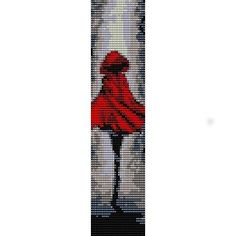 LITTLE RED RIDING HOOD ART - LOOM beading pattern for cuff bracelet
