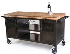 Rolling Custom Handmade Bar Cart Reclaimed Train Car por JReal, $3450.00