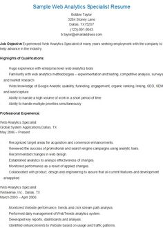 Visual Information Specialist Sample Resume Web Analytics