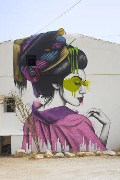 "Artwork by Fin DAC: ""Melnagai… my latest geisha painted on The White Isle of Ibiza at Nagai on the San Juan Road (Km Street Art Love, Best Street Art, Amazing Street Art, Awesome Art, Graffiti Images, Urban Graffiti, Street Art Graffiti, Art Pop, Art Geisha"