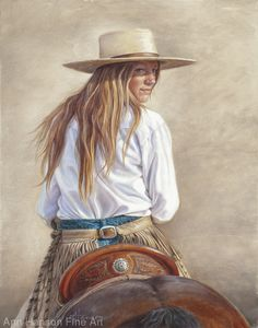 Wonderful And Winning Western And Cowboy Paintings Belle peinture de cow-girl Cowgirl And Horse, Cowboy Art, Cowgirl Bling, Cowgirl Hats, Cow Girl, Country Art, Country Girls, Old West, Westerns