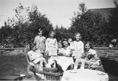 The children and their governess, Kathe Hubner, gathered on the grounds of the Goebbels' home in Bogensee, c. 1944.