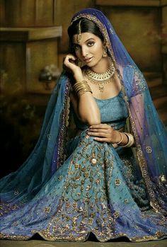 beautiful blue bridal lehenga