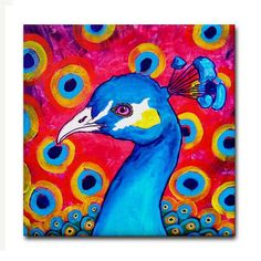 Peacock Art Tile Ceramic Coaster Print of Painting by Heather Galler