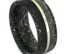 Dinosaur Bone and Gibeon Meteorite Ring with Black and White Mokume Gane Sleeve - Rare and Unique
