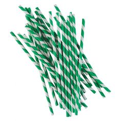 CARTA Pack of 25 green stripey paper straws