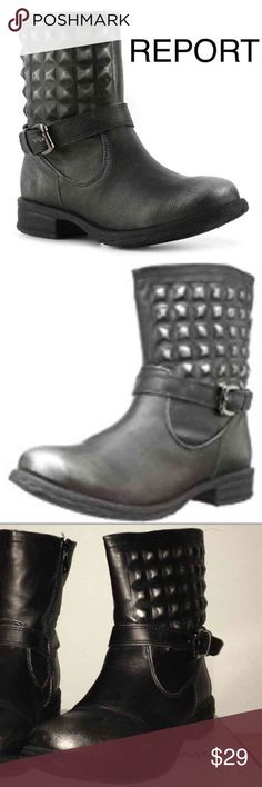 Report ASA Moto Boot Burnished Black/Hidden Studs These modernized biker boots are a definite addition to get noticed for your avante-garde sensibilities. Faux leather upper with studded quilting. Side-zip closure with strap and buckle accent. Burnished metal dye finish in areas. Textile lining with synthetic insole. Man-made outsole. Measurements: Heel Height: 1 1⁄4 in Weight: 13 oz Circumference: 12 in Shaft: 7 1⁄2 in Report Asa Black Size 7 Pre-owned with box & in great condition report…