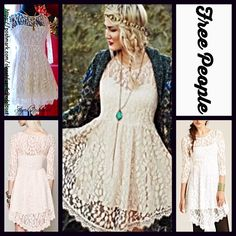 """FREE PEOPLE Lace Eyelet Party Boho Mini Dress  NEW WITH TAGS  Retail: $128 Free People Lace Dress                                                * Beautiful allover lace; Lined slip * 3/4 long sleeves w/semi sheer lace detail * Side zip closure, stretch-to-fit style & flared skirt.  * About 33-36""""long.Tagged size 0(XS) will fit sizes 0-2. * Vintage feel Fabric: 70% Cotton & 30% Nylon; Lining 100% Rayon Color: White /Ivory Item:127900  No Trades ✅Offers Considered*/Bundle Discounts✅ *Please…"""