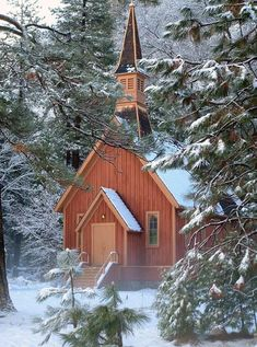 Yosemite, CA- The Chapel in Winter. Kim & I were here ver early one cold morning during our spring break trip.