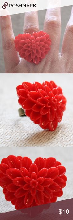 Be my Valentine Large Red Floral Heart Ring NWT Large red Floral ring in heart shape. Ring is on a distressed bronze adjustable band, and is perfect for Valentines Day! Urban Outfitters Jewelry Rings