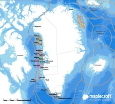 Greenland: Offshore hydrocarbon opportunities    This map, which forms part of Maplecroft's new oil, gas and mining-specific country risk report for Greenland, illustrates bathymetry and offshore hydrocarbon licensing block locations. This includes the blocks off the north-east of Greenland which form part of the 2012-13 licensing round.