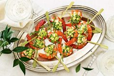 Prawn cocktail skewers with smoky capsicum mayonnaise - For a more substantial platter, double the ingredient quantities and add two prawns to each skewer.