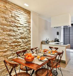 Lovely kitchen design with an accent stone wall. #mortonstones #brick #wall #home #decor  #interior #veneer #accent #decoration #kitchen #stone