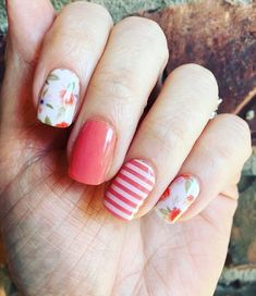 Just like I tell everyone everyday you gotta love #floralsandstripes together. Gotta get your #patternmixing on ladies on your nails and your clothes! #weekendmani