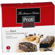 Protidiet Crunchy Cereal Caramel Chocolate Flavor Protein Bars (box of seven)