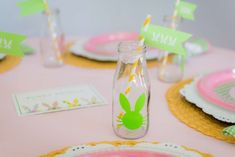 What cute bunny bottles at this Easter Brunch! See more party ideas and share yours at CatchMyParty.com