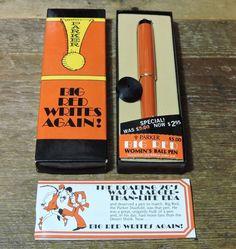 NOS Vintage 70s womens Orange Gold Trim GT PARKER Ring Top Big Red Ballpoint Pen #Parker