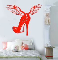 Vinyl Wall Decal Women's Shoe Wings Fashion Room Decor Stickers (1372Ig)