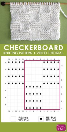 How to Knit the Garter Checkerboard Stitch with Studio Knit. - How to Knit for Beginning Knitters - How to Knit the Garter Checkerboard Stitch with Studio Knit. Knitting Chart of Garter Checkerboard Knit Stitch Pattern with Video Tutorial by Studio Knit Knitting Stiches, Loom Knitting Patterns, Knitting Charts, Knitting Designs, Hand Knitting, Stitch Patterns, Knitting Tutorials, Knit Stitches, Knitting Machine