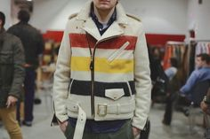 Schott Perfecto Striped Blanket Jacket