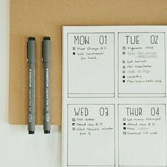 Bullet journal weekly layout, minimalist bullet journal weekly layout. | @sloppykittoonbujo #diarytips