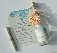 Bottle Wedding Invitations - Bottle Invitations - Beach Wedding Invitations with Watercolor Painted Palm Tree Fronds on Etsy, $222.50