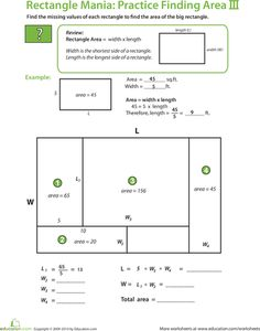 Worksheets: Rectangle Algebra: Find the Total Area II