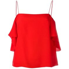 Fendi off-shoulder blouse ($615) ❤ liked on Polyvore featuring tops, blouses, red, spaghetti strap blouse, off the shoulder blouse, flutter sleeve blouse, ruffle sleeve top and red silk blouse