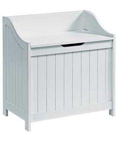 Monks Bench Style Laundry Box - White.