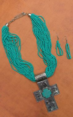 Turquoise and Silver Multistrand with Cross Pendant Necklace and Earring Set