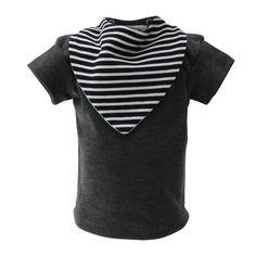 Charcoal Gray T-shirt With Two Bandana Bibs Charcoal Gray, Grey, Bandana Bib, Bibs, T Shirt, Products, Women, Fashion, Gray