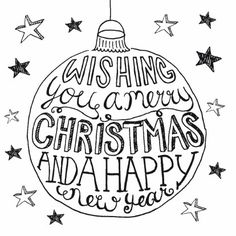 Wishing you a merry Christmas and a happy new year Doodle Lettering, Brush Lettering, Typography, Xmas Cards, Diy Cards, Chalk Marker, Karten Diy, Christmas Drawing, Chalkboard Art