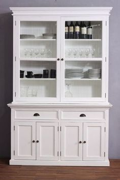 White Distressed Two Door Hutch Cabinet and Buffet Base, Make Your House a Home Dresser Furniture, Kitchen Furniture, Modern Furniture, Home Furniture, Deco Buffet, Buffet Hutch, Kitchen Display Cabinet, Display Cabinets, Kitchen Pantry