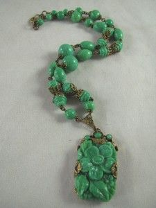 Vintage Czech Max Neiger Molded Jade Green Peking Glass Bead Floral Necklace | eBay Opal Jewelry, Glass Jewelry, Resin Jewelry, Crystal Jewelry, Jewelry Art, Glass Beads, Art Deco Necklace, Floral Necklace, Glass Necklace